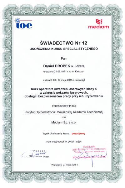Certyfikat d2 obsługa laserów