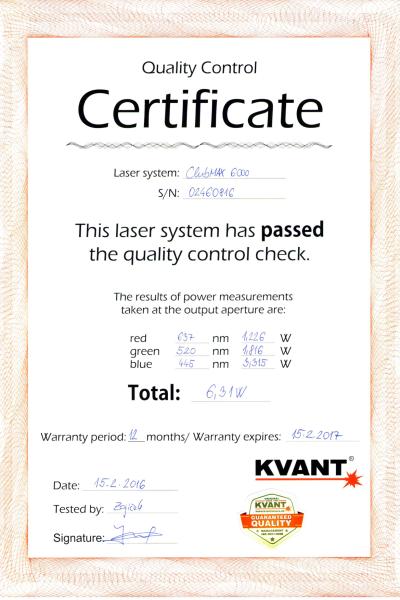 Certyfikat laser nr4