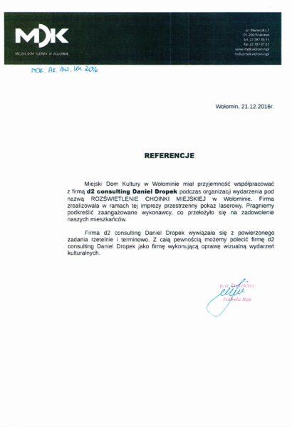 Referencje MDK Wołomin